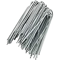 GardenMate® 50 Grapas de sujeción GALVANIZADAS 150 mm largo 25 mm ancho de alambre de acero 2,9 mm