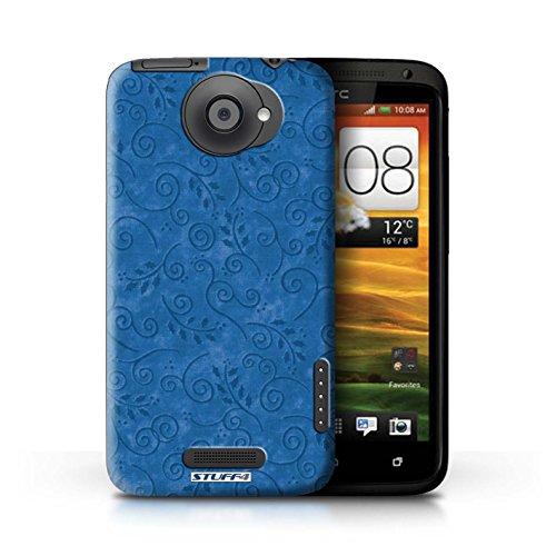 Kobalt® Imprimé Etui / Coque pour HTC One X / Jaune conception / Série Motif Feuille Remous Bleu