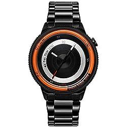 BREAK Edelstahlband Art und Weise sports analoge Quarzarmbanduhr der speziellen kühles Geschenk für Männer Frauen Uhr