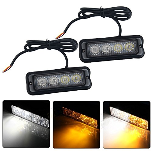 niceEshop(TM) Emergency Vehicle Light Bars 12V-24V Warnung Blinkende LED Strobe Leuchten für Trucks Pickup RVs Autos, 2Stk (Strobe Light Pickup)