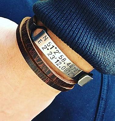 Bracelet homme en cuir, personnalisé. Coordonnées GPS de rencontre!