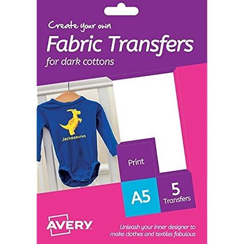 Avery HTT012 Create Your Own Printable - Hojas A5 Transferencias de Tela para Prendas de Algodón Oscuro, de Inyección de Iinta solamente, Pacquete de 5
