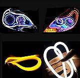 Haichen Fari auto in LED, luci DRL, luci di direzione per tracciato a tornante, banda per tubo, 2pz, bianco/ambra
