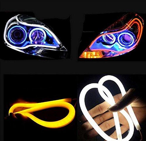 Haichen 2 stücke Weiß / Gelb Led Auto Scheinwerfer DRL Lichter Switchback Streifen Rohr Blinker - Light Running Switch