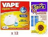 set 12 confezioni VAPE Elettroemanatore mosca e zanzare con Ricarica Giorno E Notte 480 Ore più spira girasole antimosche