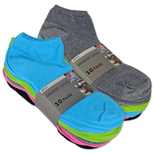 10 bis 100 Paar Sneaker Socken Baumwolle Damen & Herren Schwarz & Weiß - sockenkauf24 (35-38, 10 Paar | Farbmix)