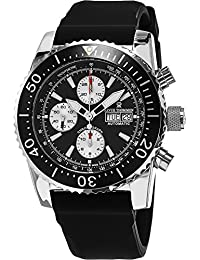 Revue Thommen Men's Automatic Watch Diver Professional Chronograph 17030.6537 with Rubber Strap