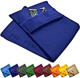 Premium fitness towel + zip pocket + magnetic clip, the original Fit-Flip sports towel with 6-fold length adjustment, probably the best microfibre multifunctional towel, gym towel, royal