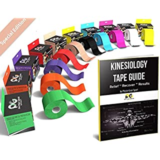 Physix Gear Sport Kinesiology Tape - Free Illustrated E-Guide - 5cm x 5m Uncut Roll - Best Pain Relief Adhesive for Muscles, Shin Splints Knee & Shoulder - 24/7 Waterproof Therapeutic Aid (1PK NUDE)
