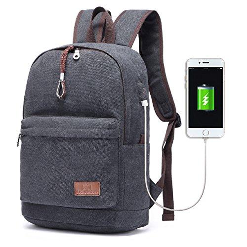 Travistar leichter Canvas Laptop Rucksack mit USB Ladeport Vintage Schule Rucksack Reise Daypack Fit 15 Zoll Laptop-(Update-Version-Schwarz)