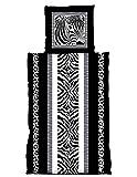 one-home 2 tlg Bettwäsche 155x220 cm Zebra Schwarz weiß Grau Übergröße Garnitur