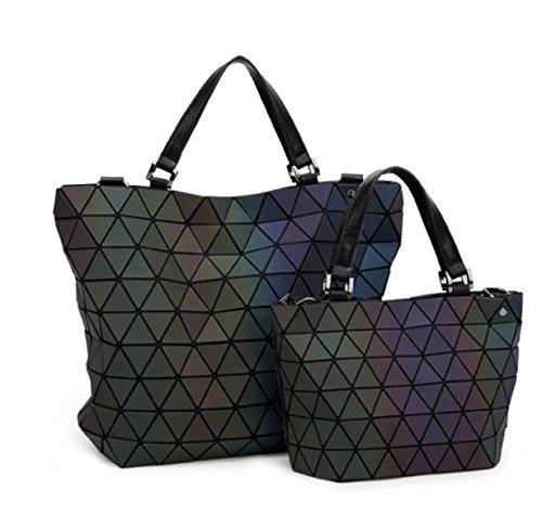 Trendy Damen Tasche Leuchtend Nähte Eimer Tasche Würfel Raute Schulter Messenger Bag Falten Handtasche Silver