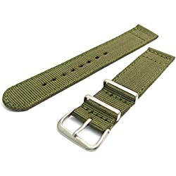 Tough Two-Piece Nylon Webbing Watch Strap Stainless Steel Buckle and Keepers 20mm Olive Green