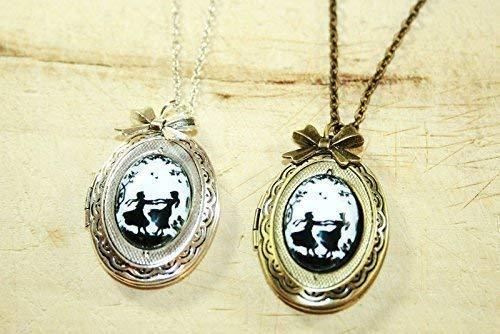 Zwei Schwestern - Scherenschnitt Freundschafts Medallion Kette, 70cm, bronze/silberfarben, ein süßes handgefertigtes Geschenk für die Schwester oder Freundin -