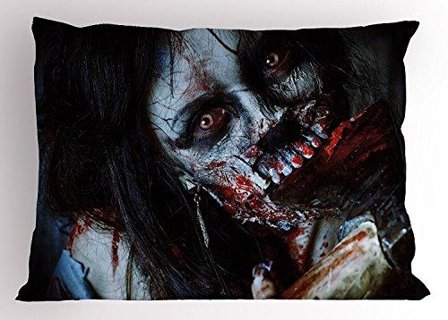 cor Kissen Sham, scary Dead Frau mit Bloody Axe Evil Fantasy Gothic Mystery Halloween Bild, dekorative Standard King Größe gedruckt Kissenbezug, 76,2x 50,8cm, multicolor (Scary Gothic Bilder)