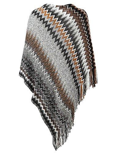 Slivexy Poncho et Cape Femme Crochet avec Capuche Pull avec Franges Gris-sans capuche