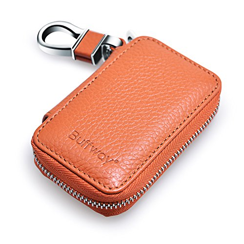 Price comparison product image Buffway Car key case,Genuine Leather Car Smart Key Ring Chain Coin Holder Metal Hook and Keyring Wallet Zipper Bag for Auto Remote Key Fob - Brown