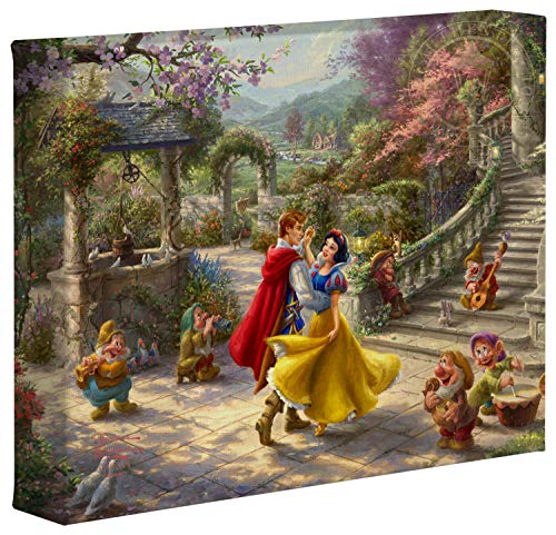 Thomas Kinkade Studios Disney Snow White Dancing in The Sunlight 20,3 x 25,4 cm Galerie enveloppé sur Toile