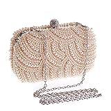 IACON Damen Perle Clutch Tasche Kleine Gold Kette Handschlaufe Unterarmtasche Schultertasche Handtasche Damentasche Citytasche Abendtasche Hochzeit (1-Pink)