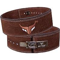 Cinturón de piel de Mytra Fusion para levantamiento de peso, soporte para espalda, para hombres, para gimnasio y crossfit, marrón, Medium