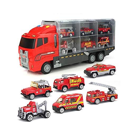Eternitry Auto Transporter Toy Carrier Legierung Loading Truck Große Container Garage Trucks Mit Licht Musik Feuertechnik Set Spielzeug Für Kinder Kleinkind