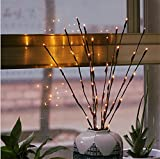 Branche Arbre Lumineux LED 77cm 20-LEDs Guirlandes Luminineuses Pour la Fleur Plante Artificielle Décoration Intérieure, Bureau, Chevet, Chambre, Maison - Blanc Chaud