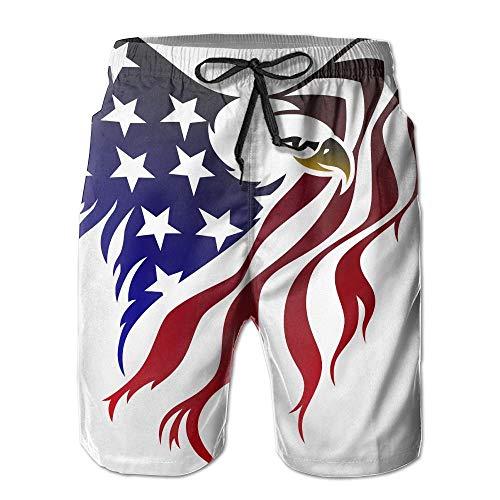 Herren Nike Swim Trunks (odin sky American Flag Eagle Men's Summer Surf Swim Trunks Beach Shorts Pants Quick Dry with PocketsSize M)