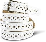 SCAMODA Damengürtel aus Echtleder mit Lochmuster ca.2,0cm breit, echtes Leder - verschiedene Farben und Größen (80, Weiß)