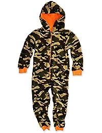 Boys Hooded Fleece Onsie Kids Jumpsuit Childrens Sleepsuit New