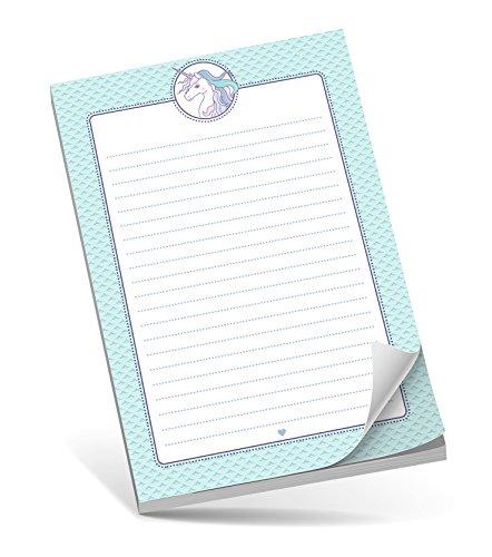 Schreibblock A5 EINHORN ROSA MINT • 50 Blatt liniert DIN A5 (148,5x210 mm) Notizblock / Block / für Schulkinder / für Schlaufüchse / Malblock (Mint Adressbuch)