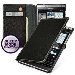 Tetded ® Blackberry Passport Silver Edition étui en cuir véritable peau de vache, Credit Card, Noir