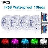 4 Stück Unterwasser Licht,Wasserdichte LED Unterwasser Licht,Furado Unterwasser LED Licht mit 2 Fernbedienung,LED Farbwechsel,10-LED RGB Multi Farbwechsel Wasserdichte LED Leuchten für Vase Base Aquar