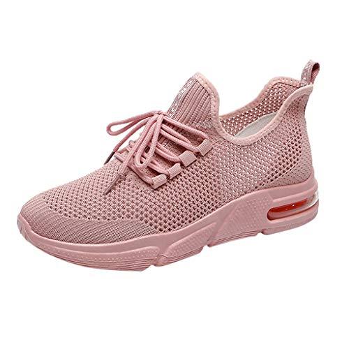 Saihui Sneakers Damen Netz Gym Atmungsaktiv Schuhe Strick Laufschuhe Trainer Sneake Sportschuhe rutschfeste Straßenlaufschuhe (EU:36, Rosa)