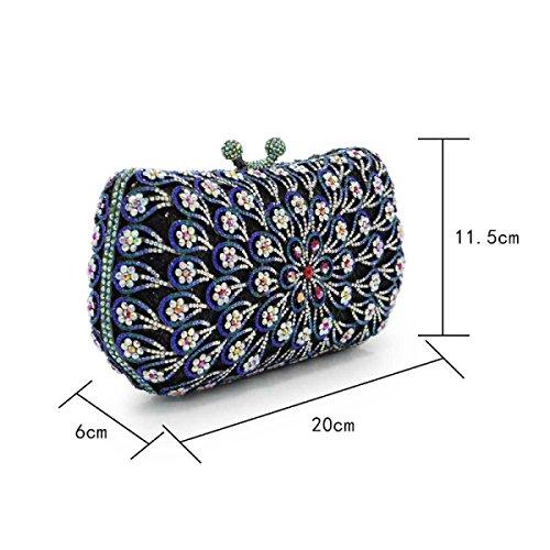 Elegante Diamanten Besetzte Abendessenbeutel Blume Metall-Kette Handtasche Blue