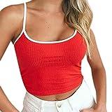 TUDUZ Damen T-Shirt Armelloses Top, Frauen Verstellbare Schultergurte Runden Hals Leibchen Crop Top (Rot, S)