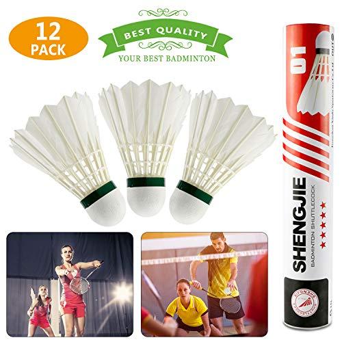 Buluri 12-Pack Hohe Qualität Badminton Federbälle, natürliche Gänsefeder High Speed Badminton Bälle mit großer Elastizität und Haltbarkeit für Sport, Training, Bewegung, Unterhaltung, Spiele