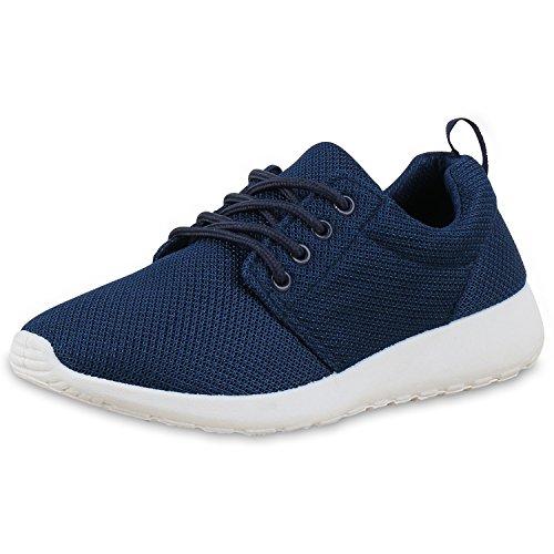 Unisex Damen Laufschuhe Fitness Sneaker Sport Turnschuhe Damen Sportschuhe Dunkelblau Blau Weiss Nuovo 37 (Activewear-training)