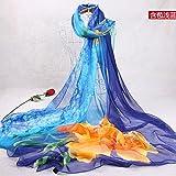 YRXDD Silk Schal Damen wilde Sonnenschutz Schal lange Strand Handtuch (145 * 200cm),mit hellblau bedeckt