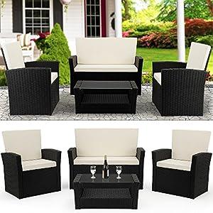 Deuba Poly Rattan Lounge Set Schwarz I Dicke Auflagen I 2 Sessel 1 Bank & Tisch Sitzgruppe Garten Balkonset Gartenmöbel