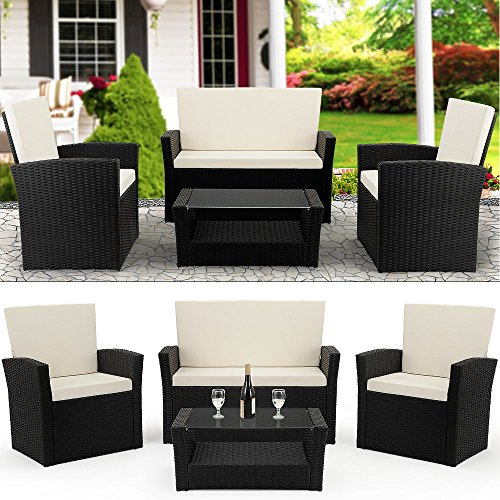 Deuba Poly Rattan Lounge Set 2 Sessel Bank & Tisch 7cm Dicke Auflagen Sitzgruppe Garten Balkonset Gartenmöbel Schwarz