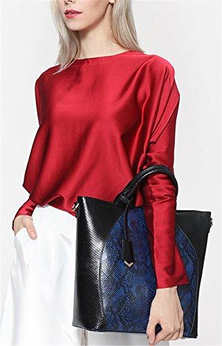 Xinmaoyuan Borse donna Ladies Borsa a tracolla in vera pelle borsetta pacchetto grosso Tote Bag,blu Blue