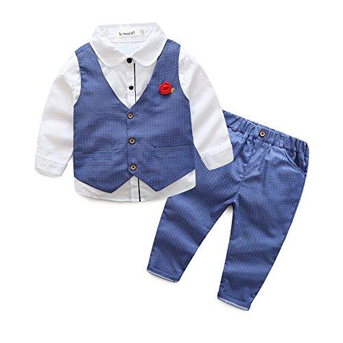 Fanryn 3-teiliges Babykleidungs-Set Babyanzug Jungen Kleider Coat Kleidung Hemd spielanzug+ Weste + Hose Bekleidungsset Kleidung Gentleman (Iron Besten Die Man Anzug)