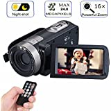 "Digital Video Camera Camcorder 24.0 Mega pixels With IR Night Vision, BACAKSY Portable Mini Handheld Camcorder HD 1080P Max.Digital Mini DV 3"" LCD Screen 16X Zoom"