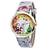 gloaming Weihnachtselternbaum-Muster, Lederne Blumenmuster-analoge Quarz-Vogue-Uhr