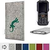 flat.design für Cyrus cm 7 Handy Schutzhülle Faro mit Gecko - Schutz Case Made in Germany in Hellgrau Grün Handgefertigte Smartphone-Tasche Etui aus Filz für Cyrus cm 7