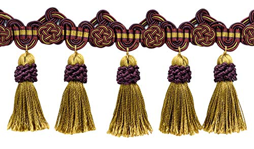 5 Yard Package of 3.75 Inch Black Cherry Red, Camel Beige, Purple Tassel Fringe Trim with Rosettes|Style# TFAX0375 (21765)|Color: Cerise - LX09 (36 Ft / 11 Meters)