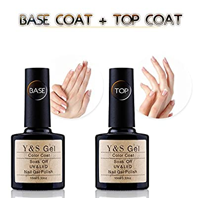 Y&S UV LED Soak Off Gel Nail Polish Top Coat and Base Coat Set