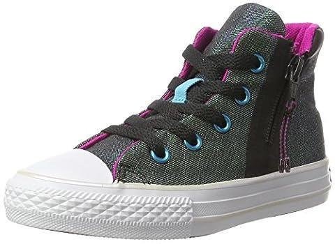 Converse Unisex-Kinder All Star Sport Zip Hohe Sneaker, Mehrfarbig (Almost Black/Magenta Glow/White), 36 EU