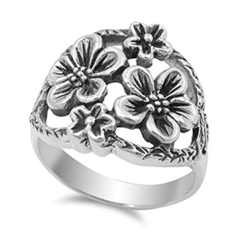 Plumeria-ring (Ring aus Sterlingsilber - Plumeria)