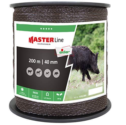 Clôture Large bande Eider 200 m, 40 mm, marron – Haute conductivité (seulement 1,87 Ohm/M) – Très résistant – 13 Niro échelle – Notre Best-seller à la lutte Prix